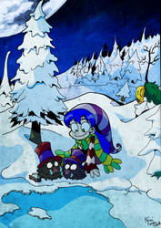 Mel on the moon with piggies by SeigneurRuei