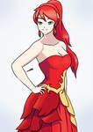 Pyrrha in a fancy dress