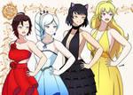 Team Rwby in Fancy Dresses