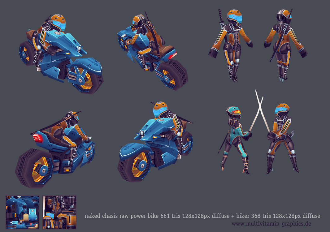 lowpoly naked power bike + biker by OliverJanoschek