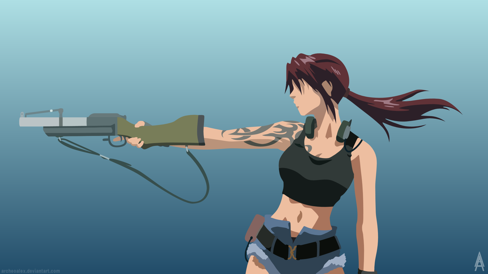 Black Lagoon Revy Minimalist Wallpaper By Archeoalex On Deviantart