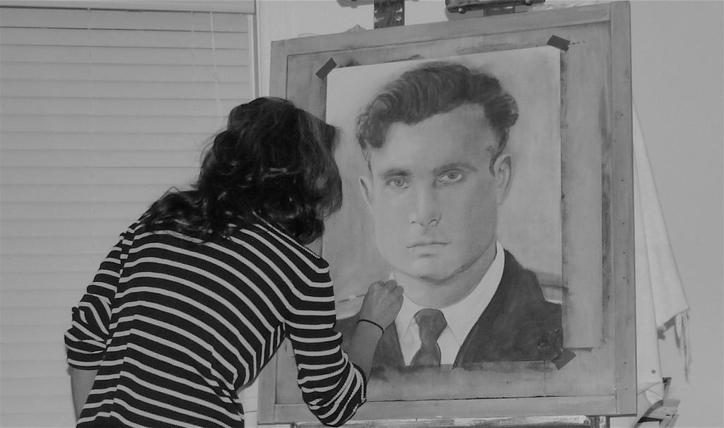 Adrienne working on Vasili Alexandrovich Arkhipov by