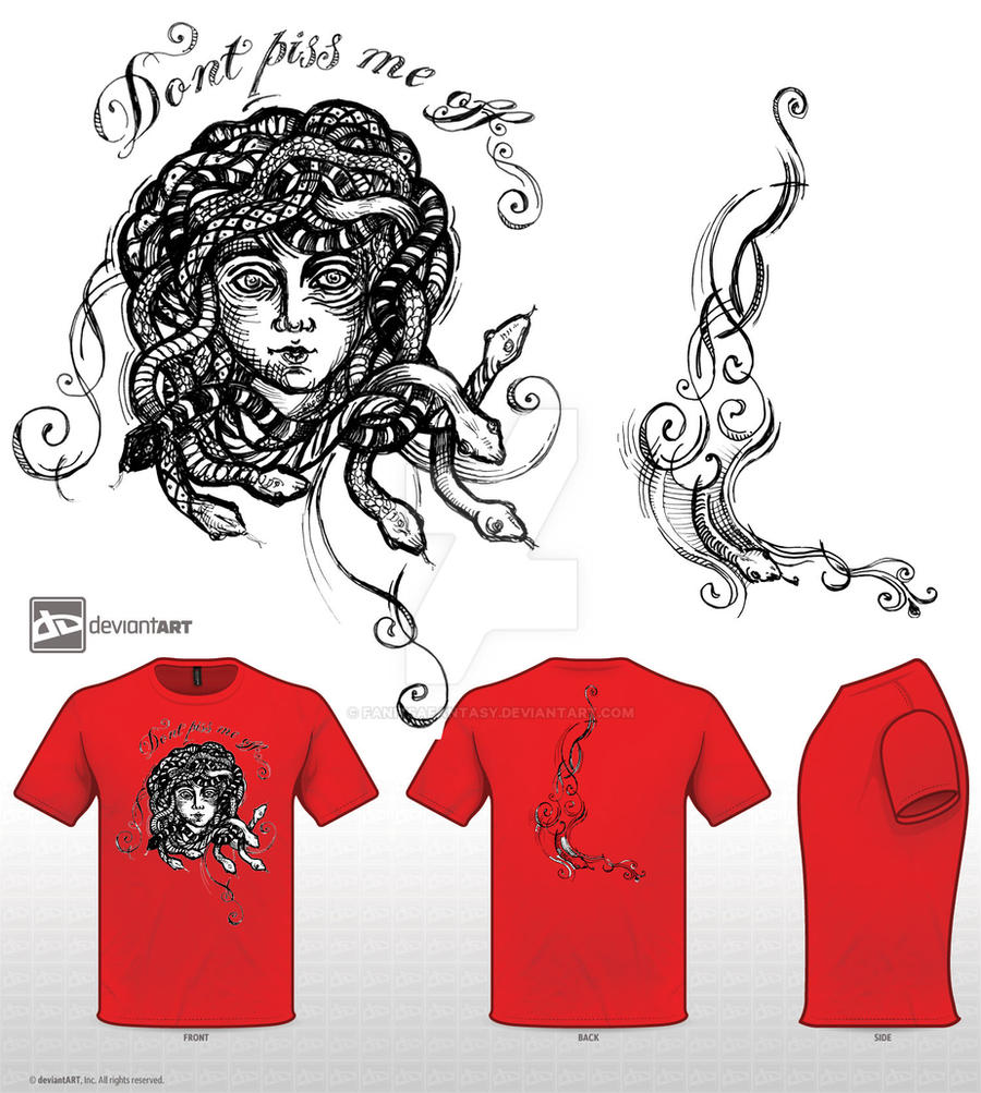 Medusa-Mythical Creatures T-shirt Design Challenge by fanitsafantasy