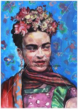 Frida on Blue.
