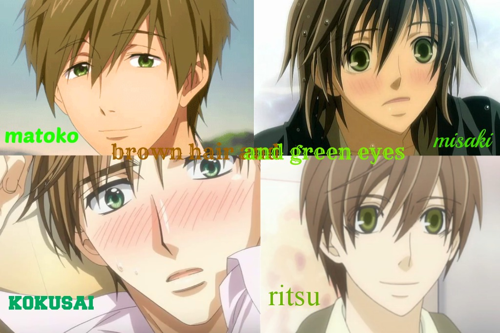 Anime guys with brown hair and blue eyes