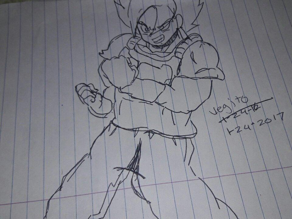 Vegito sketch fighting pose by ZiggyXD