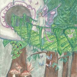 Forrest Faerie on a bridge. by DaggerRavionFall