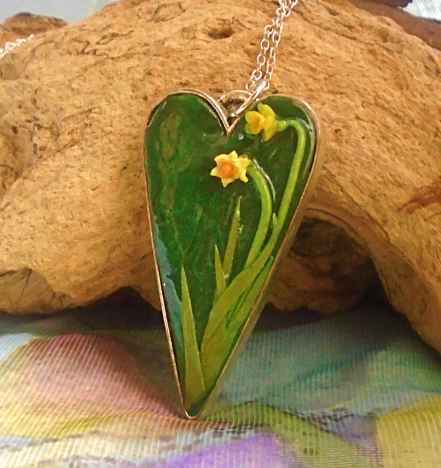 Polymer Clay Daffodil Heart Pendant by aldcord