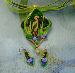 Art Nouveau Style Heron and Water Lily Jewelry Set by aldcord