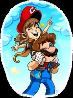 Super Mario and Hat Kid