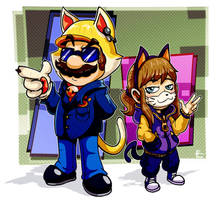 Cat Mario and Hat Kid chan