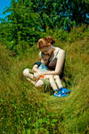 Mother and Son in Grass