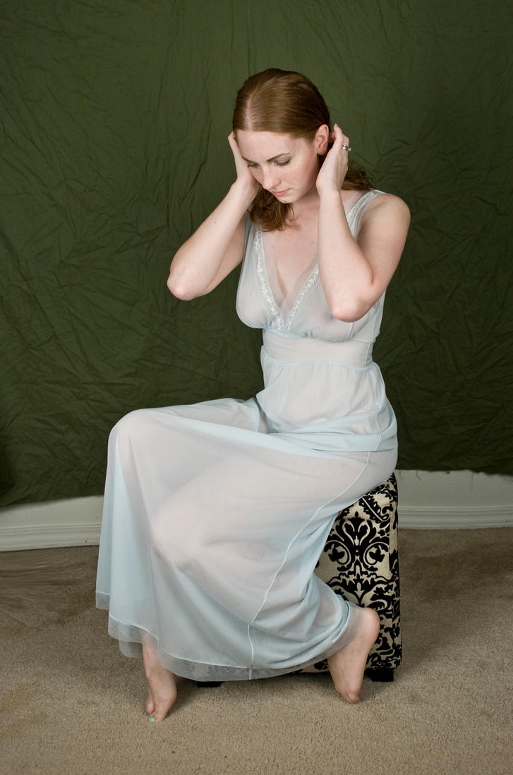 Mature in nightgown
