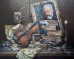 Still life with an old violin
