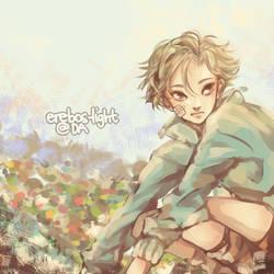 Boy in Flower Field