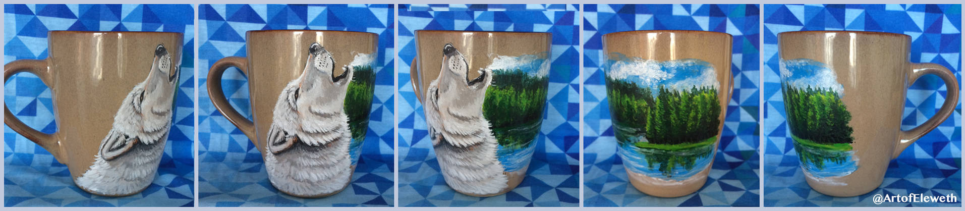 Painted mug: Howling wolf with lake