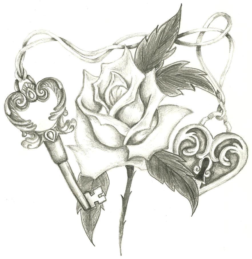Heart Lock And Key Tattoo Drawings Honey
