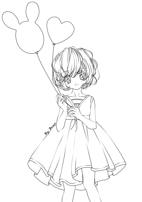 Line Drawing Little Girl : Line art little girl with balloons by cain on deviantart