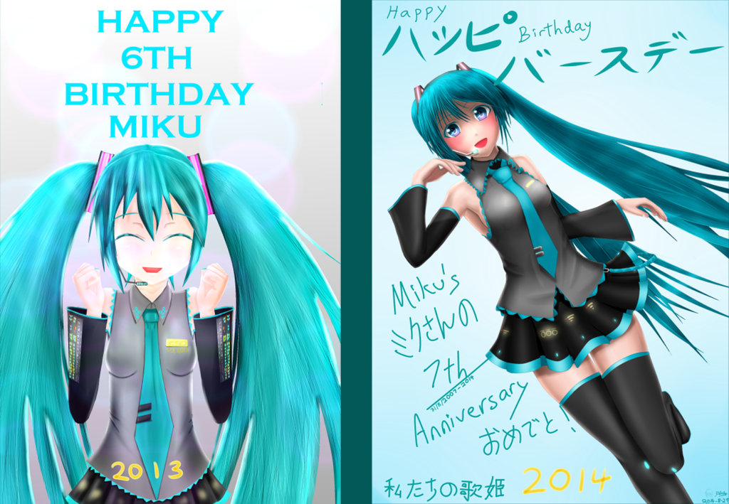 [One Year Comparison] Miku's Birthday Art by OkazakiTomoya97