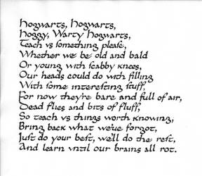 Calligraphy practice: Hogwarts School Song by studentofrhythm
