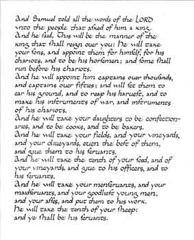 Calligraphy practice: 1 Samuel 8:10-17