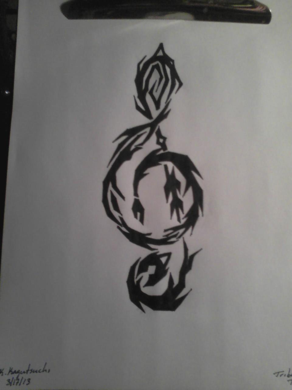 tribal treble clef tattoo by hellsdementedangel on deviantart. Black Bedroom Furniture Sets. Home Design Ideas
