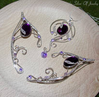 Violet Lake necklace and elf ears by Lyriel-MoonShadow