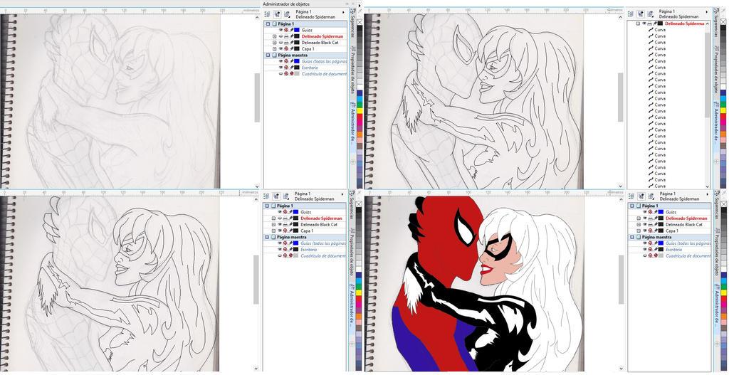 Spiderman and Black Cat (progress) by kai-sam