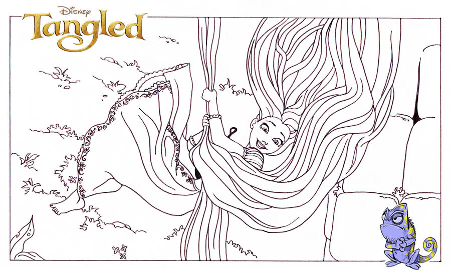 Tangled coloring page by dvythmsky on deviantart for Tangled coloring book pages