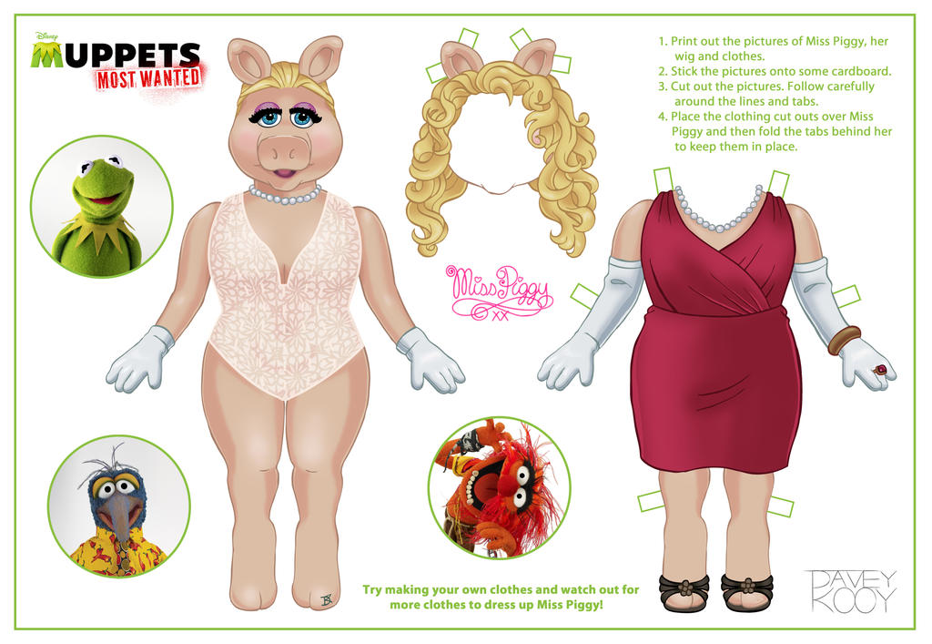Miss Piggy paper doll by Dvythmsky