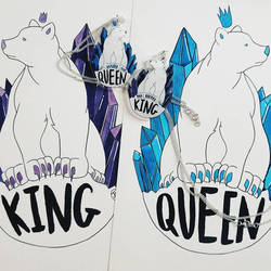 QUEEN and KING Bear Charms