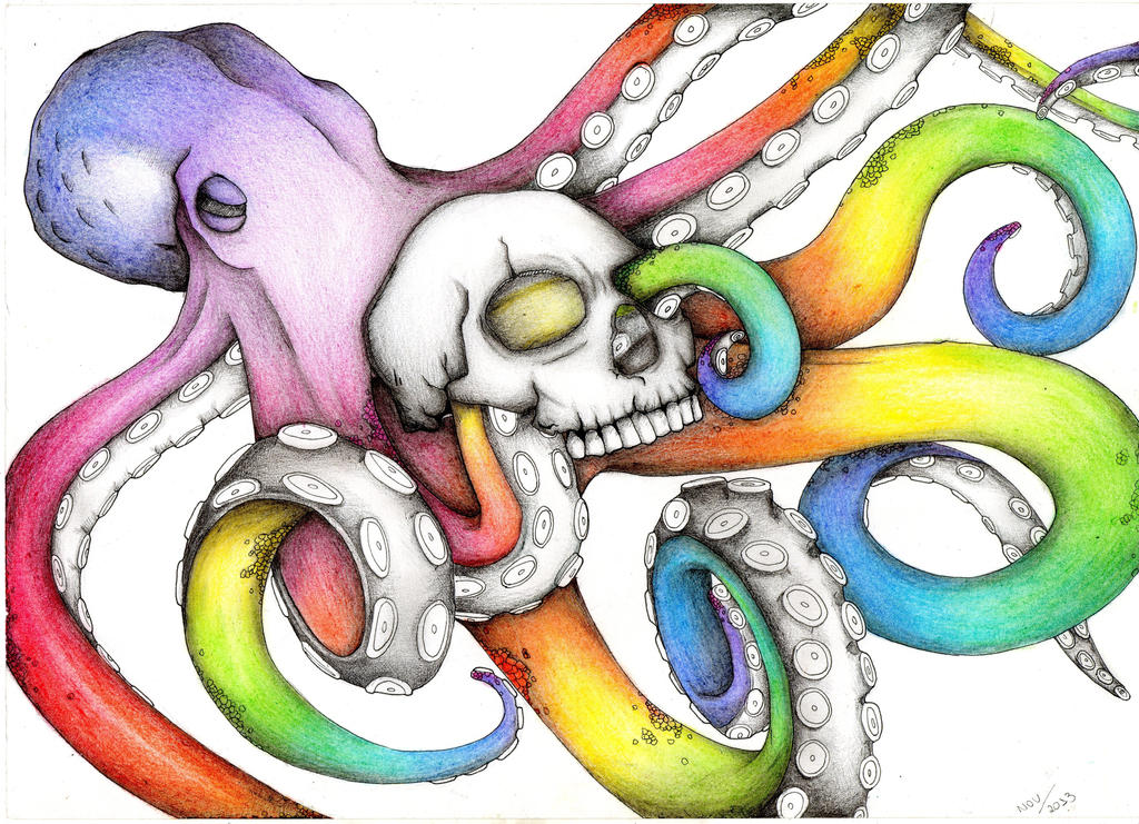 Rainbow Octopus Color Pencil Drawing By Karen754 On DeviantArt