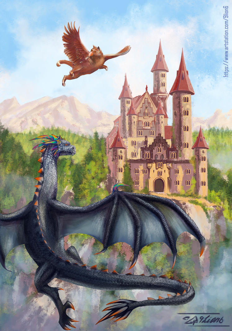 Dragon and griffon by 9Lion6