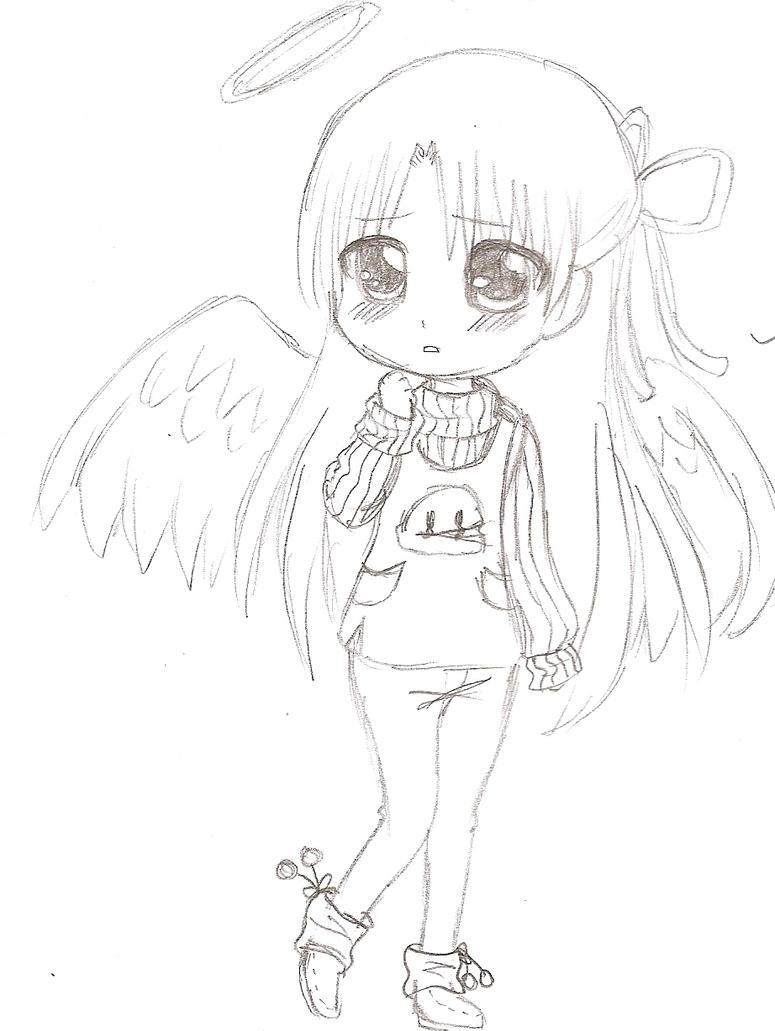 Картинки для срисовки аниме девочки в стиле чиби карандашом без цвета, открытка февраль