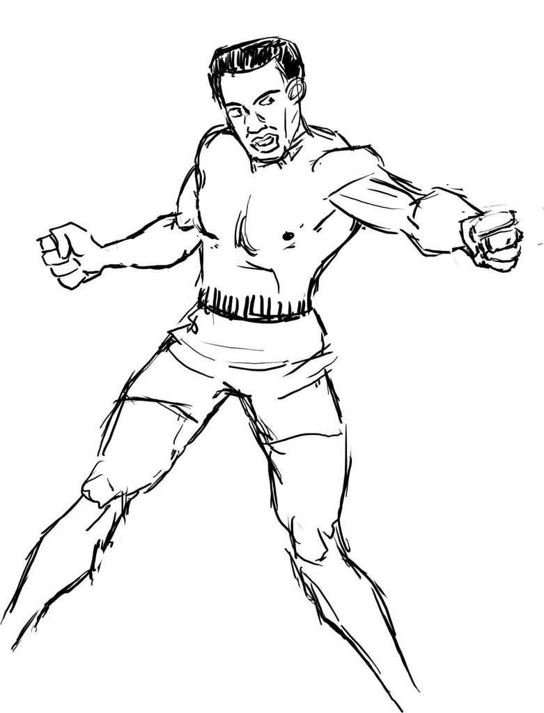 how to draw muhammad ali face step by step