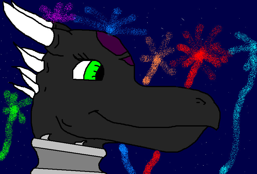Cynder with fireworks by dragonneGlacia