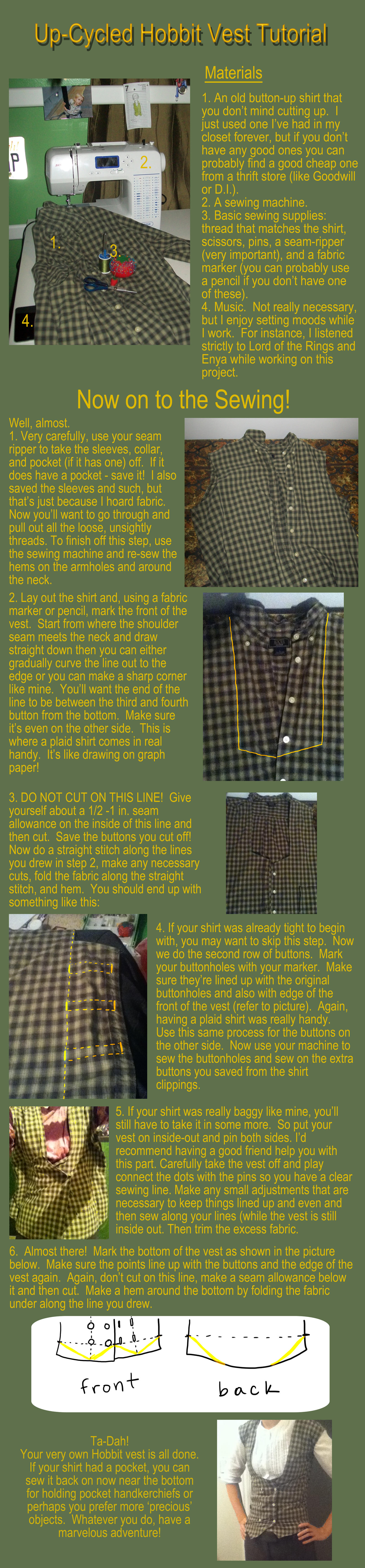 Up-Cycled Hobbit Vest Tutorial by Autnott