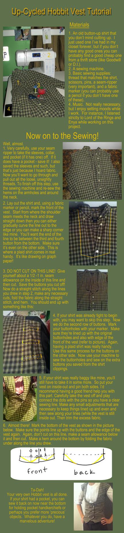 Up-Cycled Hobbit Vest Tutorial by Autnott
