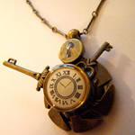 Razorblade Clock Keys Pendant