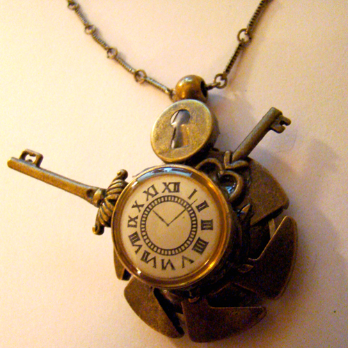 Razorblade Clock Keys Pendant by SteamSociety