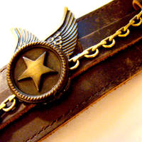 Wing Star Leather Bondage Cuff by SteamSociety