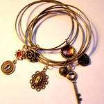 Steampunk Charm Bracelet Cuffs