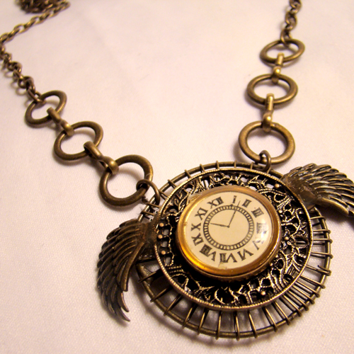 by amulet pin necklace steampunk czech gear bronze spinnweben clockwork locket