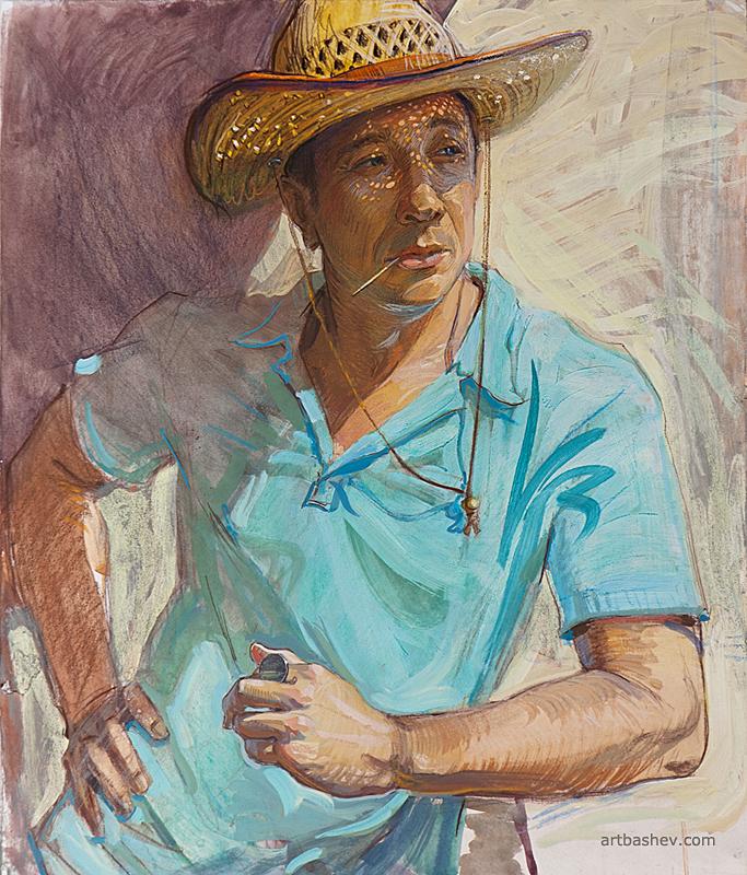 A man in a straw hat by Artbashev