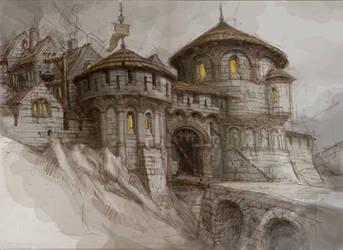 Gate to dwarfs town by Hetman80