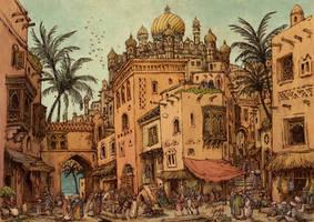 Medieval arabic city - the Market by Hetman80