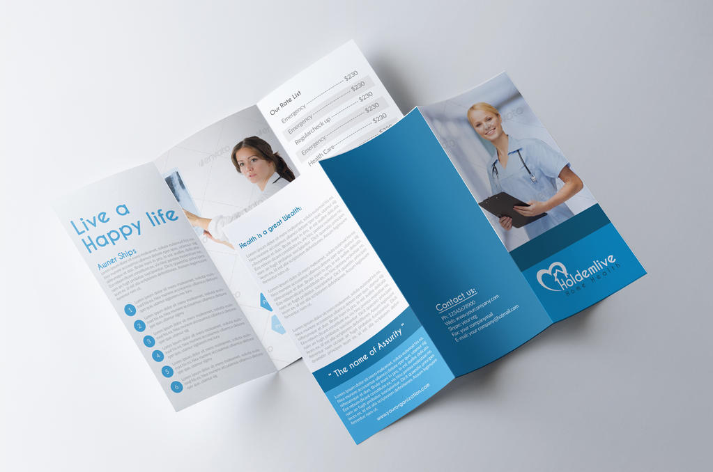 Medical care and Hospital Trifold Brochure Template Free ... |Medical Tri Fold Brochure Template