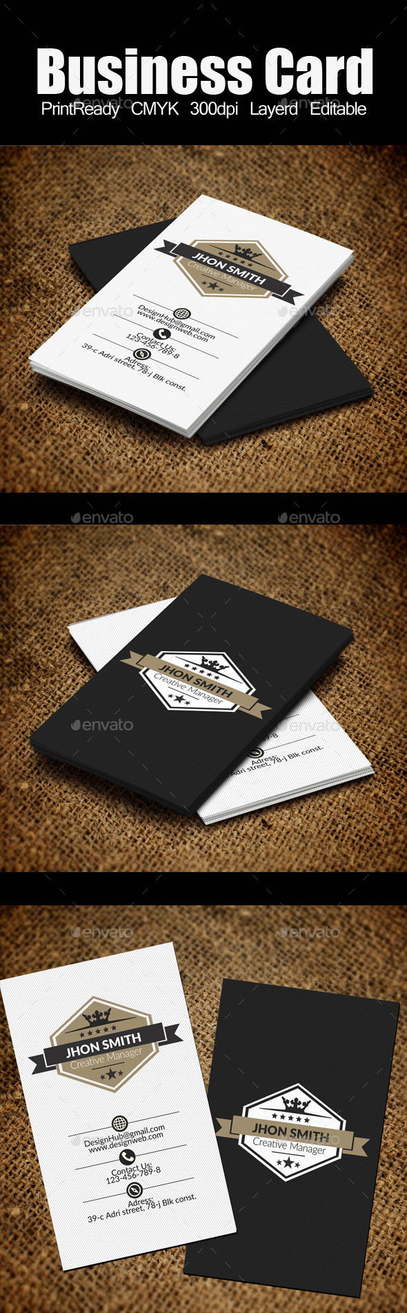 vertical Retro Vintage Business Card Template by
