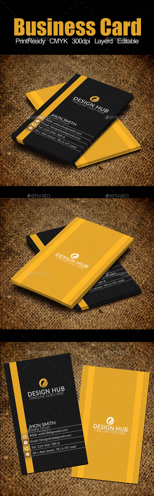 Vertical Business Card Template by Designhub719 on DeviantArt