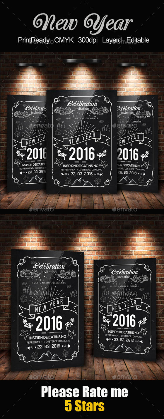 new year chalkboard flyer template by designhub719 on deviantart. Black Bedroom Furniture Sets. Home Design Ideas